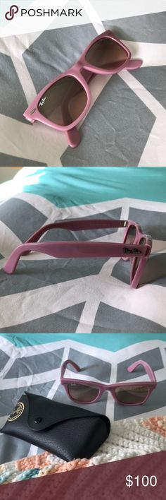 NWOT Ray-Ban Sunglasses! NWOT. Brand new, matte pink, Ray-Ban wayfarer sunglasses! Comes with case. Ray-Ban Accessories Sunglasses