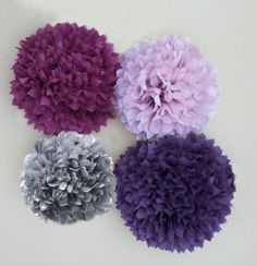 Purple, Lilac, Plum, and Grey Tissue Paper Pom Poms | 4 Piece Set | Weddings | Bridal Shower | Birthday | Nursery | Party Decorations These would be great colors for all the girls dresses!!