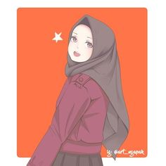 No photo description available. Girl Cartoon, Cute Cartoon, Cartoon Art, Anime Girl Drawings, Anime Art Girl, Anime Girls, Kawaii, Hijab Drawing, Islamic Cartoon