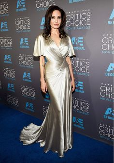 Angelina Jolie in a champagne silk gown at the 2015 Critics' Choice Movie Awards