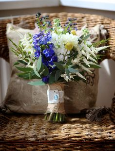 A beautifully colourful wedding filled with charming little details, the whole thing just oozes rustic country chic! Bridal Bouquet Blue, Blue Wedding Flowers, Floral Wedding, Wedding Colors, Wedding Bouquets, Blue Bridal, Blue Flowers, Rustic Chic, Country Chic