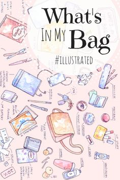 My illustrated take on the What's in my Bag hashtag - this illustration was so much fun to make! Bag Illustration, Illustration Fashion, Illustrations, Travel Doodles, What's In My Purse, Drawing Bag, What In My Bag, Unicorn Art, Art Bag