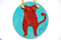 Decorazione da muro: Gatto rosso su lastra tonda in di LabLiu