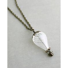 White Hot Air Balloon Necklace with dark silver ($26) ❤ liked on Polyvore featuring jewelry, necklaces, white jewelry, silver necklace, dark jewelry, balloon necklace and silver jewellery