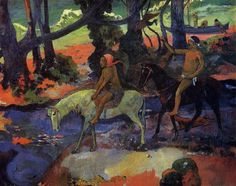 Flight, 1901 by Paul Gauguin, 2nd Tahiti period. Post-Impressionism. genre painting. Pushkin Museum of Fine Art, Moscow, Russia