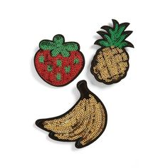 Women's Topshop Sequin Fruit Brooches (£12) ❤ liked on Polyvore featuring jewelry, brooches, multi, denim jewelry, topshop jewelry and sequin jewelry