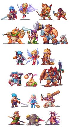 Main character pixelarts from Breath of Fire 1,3 and 4 by Abysswolf (Daniel Oliver)