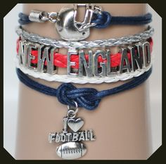 Show your New England colors with this New England Patirots football bracelet, just in time for football season.