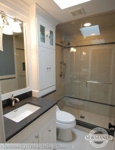 Banjo Countertops can be an especially usefulstorage solution in a smaller bathroom. Call us today to schedule a free consultation!