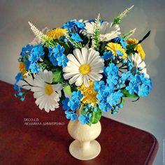 """Handmade polymer clay flowers / Букет """"Незабудки"""" из полимерной глины — работа дня на Ярмарке Мастеров. Узнать цену и купить: http://www.livemaster.ru/zollepectok  #handmade #craft #polymerclay #flowers #bouquet #beautiful #livemaster #ярмаркамастеров #ручнаяработа #рукоделие #полимернаяглина #холодныйфарфор #цветы"""