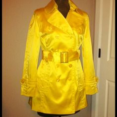**REDUCED** Stunning yellow jacket Beautiful, vibrant jacket. Cotton/polyester/spandex but feels like satin!! Truly stunning. Jessica Simpson Jackets & Coats