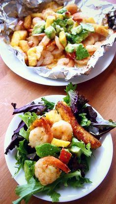 Grilled Pineapple Glazed Shrimp Avocado Peach Salad With Sweet and Savory Sweet Potato Zucchini Fries!