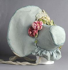 1830 hats.Large romantic wide hats, ornately trimmed with feathers, loops of ribbons and bows complemented the wide shoulder lines of the 1830s. For evening many married ladies liked to wear gauzy silk, satin and velvet exotic turbans or berets especially on one side of the head. The turbans they twisted up from scarves, but as a fashion they were dead by the 1840s.