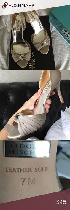 "Badgley Mischka formal shoes in ""silver"" greige So pretty and comfortable formal shoes worn one afternoon.  Heel is a 3 1/4"" heel, size 7.  These shoes are a perfect neutral, with silver detailing and crystal jewels. Badgley Mischka Shoes Heels"