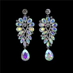 """Loving this new stunning AB chandelier earring from L&M Bling! 3.0"""" L x 1.1"""" W - Big enough to make a statement, yet slender enough to be worn by a young teen! #lmbling #faceofbling #pageantjewelry #pageantearrings #promearrings #promjewelry"""