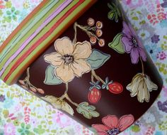 "Planter Hand Painted Flower Pot 6 Inch Terracotta ""Chocolate Floral""- Made to…"