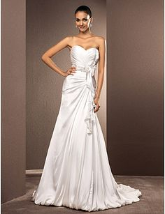 A-line Sweetheart Court Train Satin Chiffon Wedding Dress - USD $ 199.99