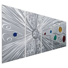 """Large Silver Metal Wall Art Decor - Abstract Modern Space Colorful Circles Decor - Set of 5 Panels for Kitchen or Living Room - 64"""" x 24"""" Pure Art http://www.amazon.com/dp/B00XJVZXL8/ref=cm_sw_r_pi_dp_tbJexb0J575XR"""