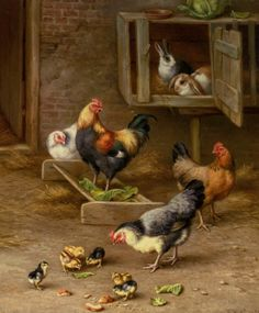Chickens Chicks and Rabbits in a Hutch by Edgar Hunt (Edgar  Hunt), Oil On Canvas