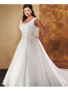 Organza Sleeveless V-neckline Embroidered Bodice Wedding Dress