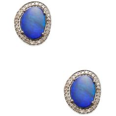 Arthur Marder Fine Jewelry Women's Diamond, Opal & Sterling Silver... ($405) ❤ liked on Polyvore featuring jewelry, earrings, blue, sterling silver diamond earrings, sterling silver opal jewelry, blue jewellery, blue diamond jewelry and blue opal earrings