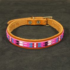 "Native American beaded dog collar  Size: 18""L x 3/4""W"