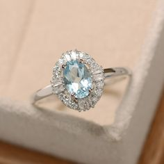 Natural aquamarine ring oval cut sterling silver delicate