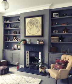 Living Room Shelves, New Living Room, My New Room, Home And Living, Living Room Decor, Cozy Living, Built In Cupboards Living Room, Alcove Storage Living Room, Alcove Ideas Living Room