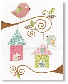 Kids wall art, baby nursery decor, nursery wall art, children wall art, personalized, birds nursery, Birdhouses 8x10 print