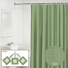 @Overstock - Waverly linen textured solid shower curtain with matching mirrored hooks enhance any bathroom. The shower curtain is polylinen textured while the hooks are made of polyresin with metal j-hooks.http://www.overstock.com/Bedding-Bath/Waverly-Linen-2-piece-Jade-Shower-Curtain-and-Hook-Set/6790197/product.html?CID=214117 $39.99