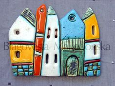 Houses Handmade Ceramic Art Tile by MakedonskaCeramicArt on Etsy