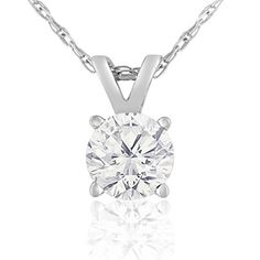 14K White Gold 1/2 Carat Solitaire Diamond Pendant Necklace (K-L, I2-I3) AGS Certified With Free Chain, 18 Inches #diamondnecklaces