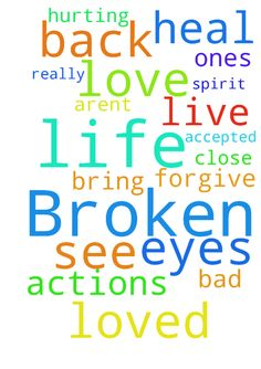 Broken -  Praying for God to heal my broken spirit. Lord please let me see love from those close to me. Please forgive me for any and all actions that arent accepted in your eyes. Please bring loved ones back into. My life help me to live a life for you God. I really need prayers. Hurting bad.  Posted at: https://prayerrequest.com/t/uoA #pray #prayer #request #prayerrequest