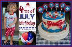 4th of July Theme Birthday Party -- I like that they did a breakfast party, might be a good way to fit our girl's birthday into our guests' busy holiday weekend!