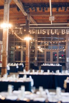 Steam Whistle Brewery wedding photography Toronto - Tara McMullen Photography - love the use of lights here Brewery Wedding, Hotel Wedding, Dream Wedding, Wedding Photography Toronto, Love Photography, Wedding Venue Decorations, Wedding Decor, Wedding Ideas, Doctor Who Wedding