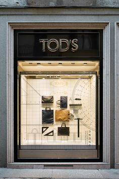 Architect Bag design by Nendo for Tod's Visual Merchandising Displays, Visual Display, Home Design, Interior Design, Vitrine Design, Window Display Design, Window Displays, Shop Facade, Bag Display