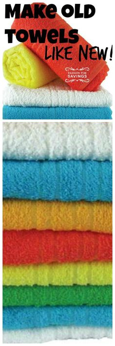 How to Make Your Old Towels Like New ~ Over time the detergent and fabric softener you use to keep your towels clean and fresh will actually cause buildup that will leave them not as nice as they could be. You can make your towels look like new (or almost like new), be more absorbent and better smelling with these few simple steps.