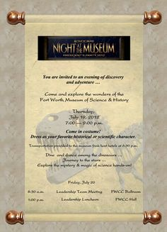 "Custom ""Night at the Museum"" Invitation."