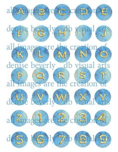 Just re-listed 14 design sheets of INCHIE  BACKGROUNDS for those of you who make bottle cap jewelry and the like.  This one is gold alphabet  ice blue by DBVisualArts,  http://www.etsy.com/shop/DBVisualArts?ref=si_shop   $1.99