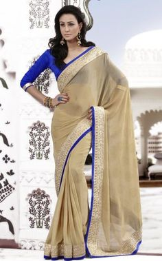 Fantabulous Blue and Beige Embroidery Saree