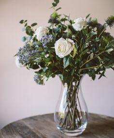 White Rose & Eucalyptus - the olive tree shop  White Rose, Thistle, Olive, Eucalyptus and Queen Ann Lace stems.