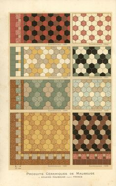 Carreaux petit catalogue (1928).  While these images are from a 1928 French tile catalogue the same tiles and patterns were being used in many mid-century modern bathrooms forty years later.  Repinned by Secret Design Studio, Melbourne.  www.secretdesignstudio.com