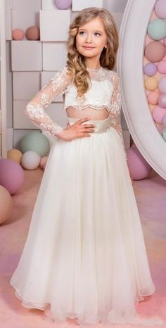 2016 Two Pieces Flower Girls Dresses For Weddings Jewel Neck Long Sleeves Lace Princess Birthday Dress Children Party Kids Girl Ball Gowns Simple Flower Girl Dress Teenag. Simple Flower Girl Dresses, Flower Girls, Pageant Dresses, Evening Dresses, Next Dresses, Dresses For Kids, Girls Dresses, Birthday Dresses, Stylish Dresses