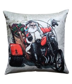 Snata Clause riding a bike Swag Cushion Cover by Vivora Homes