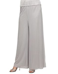 Alex Evenings Full Leg Pants Women's Dove Grey Large
