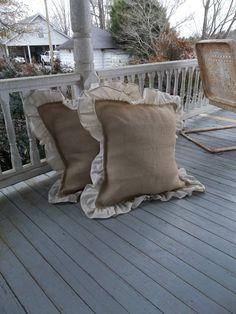 "Pair Ruffled Burlap Pillows 24"" Decorative Pillows French Country Farmhouse Burlap Prairie Bedroom Pillows Ruffled Pillows Throw Set of 2"