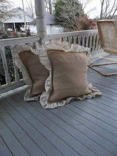 "Pair Ruffled Burlap Pillows 24"" Decorative Pillows French Country Farmhouse Burlap Prairie Bedroom Pillows Ruffled Pillows Throw Set of 2"