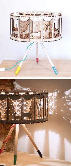 ideas for diy lamp kinderzimmer Diy Nursery Decor, Diy Home Decor Bedroom, Diy Crafts Lamp, Carousel Birthday, Kids Lamps, Diy Table, Lamp Table, Wooden Lamp, Diy Wood Projects