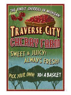 Traverse City, Michigan - Cherry Farm Prints by Lantern Press at AllPosters.com
