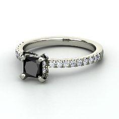 Carrie Princess Ring, Princess Black Diamond White Gold Ring with Diamond from Gemvara